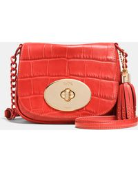 Coach Liv Crossbody In Croc Embossed Leather - Lyst