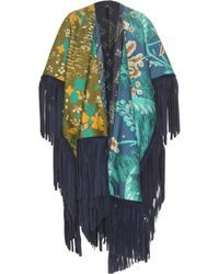 Burberry Prorsum - Reversible Printed Cotton And Silk Poncho With Suede Fringe - Lyst