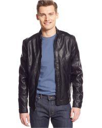 Calvin Klein Faux-Leather Moto Jacket - Lyst