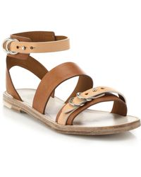 Rag & Bone Lara Flat Leather Sandals - Lyst