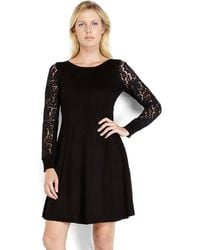 Eliza J Black Empire Waist Sweater Dress - Lyst