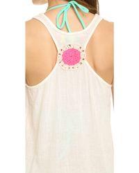Surf Bazaar - Crochet Tank Top Dress - Natural/flora - Lyst