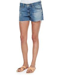 AG Adriano Goldschmied Bonnie Relaxed Frayed Denim Shorts - Lyst
