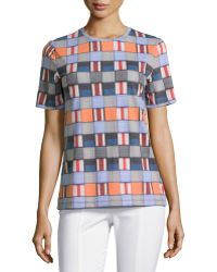Tory Burch Short-Sleeve Mixed-Block Printed Tee - Lyst