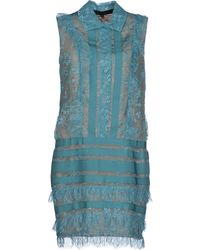 Elie Saab Teal Short Dress - Lyst