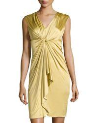 Catherine Catherine Malandrino Jill Twisted-knot Ruffle-front Dress - Lyst