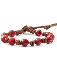 Chan Luu Red Coral Beaded And Leather Bracelet - Lyst