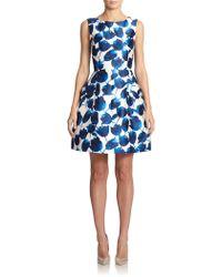 Oscar de la Renta Silk & Cotton Floral Dress - Lyst