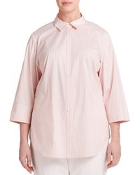 Lafayette 148 New York Striped Button-Front Shirt - Lyst