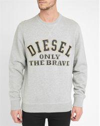 DIESEL | Grey S-joe Round-neck Sweatshirt | Lyst