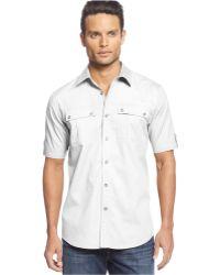 Sean John Short Sleeve Twill Shirt - Lyst