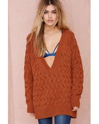Nasty Gal Dropout Cable Sweater - Lyst