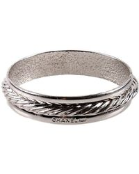 Chanel Pre-Owned Silver Rope Bangle - Lyst