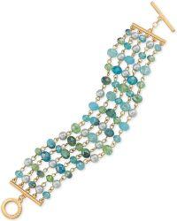 Carolee - Gold-tone Multi-row Beaded Bracelet - Lyst