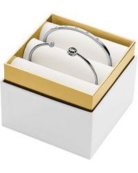 Michael Kors Silver Tone Crystal Bracelet Set - Lyst