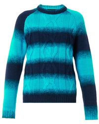 House Of Holland Ombrestripe Cableknit Sweater - Lyst