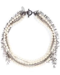 Venna - Crystal Star Faux Pearl Chain Link Leaf Necklace - Lyst
