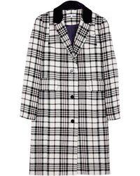 Carven Tartan Wool Single Button Coat - Lyst