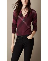 Burberry Check Wool Cashmere Cardigan - Lyst