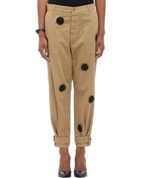 Band Of Outsiders Floral Appliqué Chinos - Lyst