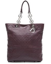 Dior Preowned Bordeaux Lady Dior Soft Shopper Tote Bag - Lyst