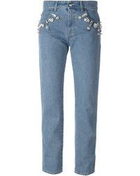 Emanuel Ungaro Crystal Embellished Jeans - Lyst