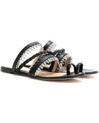 Gianvito Rossi Embellished Leather Sandals - Lyst