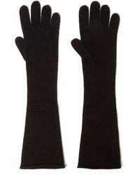 CASH CA - Black Long Knit Cashmere Gloves - Lyst