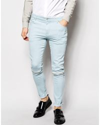Asos Super Skinny Jeans With Zip Knee Detail - Lyst