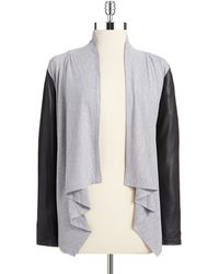 Jessica Simpson Faux Leather Accented Cardigan - Lyst