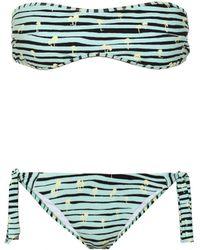 Kenzo Printed Bandeau Bikini teal - Lyst
