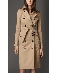 Burberry Cotton Gabardine Trench Coat - Lyst