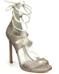Stuart Weitzman LamÉ & Metallic Leather Lace-Up Sandals - Lyst