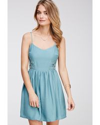 Love 21 Cutout Crochet-Paneled Dress - Lyst