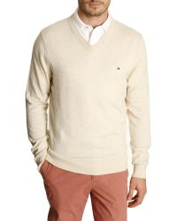 Tommy Hilfiger Natural Cotton And Linen V-Neck Sweater - Lyst