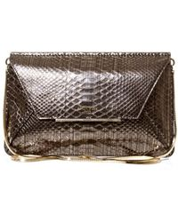Lanvin Snakeeffect Leather Envelope Clutch - Lyst