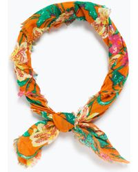 Zara Bandana Print Hairband orange - Lyst