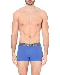 Calvin Klein Zinc Stretch-Cotton Trunks - For Men - Lyst