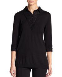 St. John Wool & Lace Sweater - Lyst