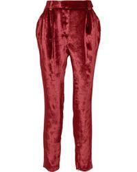 Vionnet Pleated Velvet Tapered Pants - Lyst