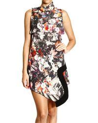 Roberto Cavalli - Just Cavalli Dress Sleeveles Asimmetric Print Flowers - Lyst