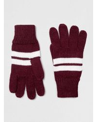TOPMAN - Burgundy Striped Gloves - Lyst