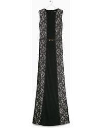 Mango Lace Panel Dress - Lyst