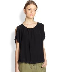 Joie Nimah Silk Cutout-shoulder Blouse - Lyst