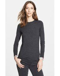 Burberry Brit Check Cuff Wool Crewneck Sweater - Lyst