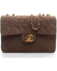 Chanel Preowned Brown Suede Maxi Flap Bag - Lyst