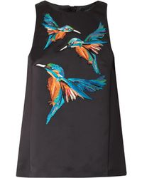 Giles Embroidered Kingfisher Satin Top black - Lyst