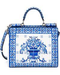 Dolce & Gabbana Sicily Medium Italian Tile Textured Leather Tote blue - Lyst