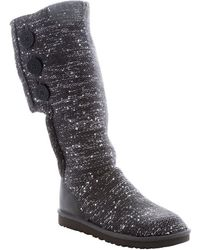 UGG - Charcoal Rib Knit Wool And Sequin 'classic Cardy' Tall Boots - Lyst