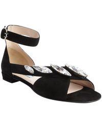 prada black leather studded gladiator sandals